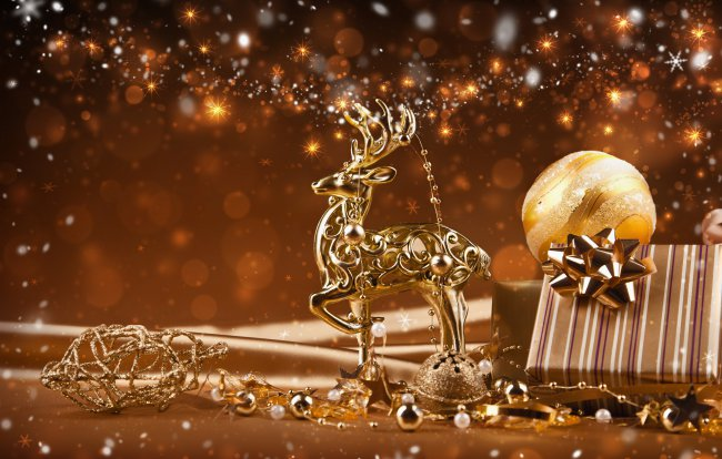 new year,lights,decoration,reindeer,ornaments,golden christmas