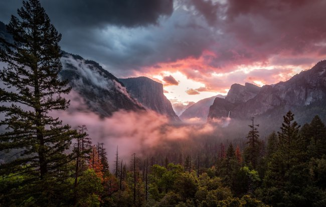 sky,forest,nature,trees,clouds,sunset,landscape,mountains,rocks,waterfall,evening,fog,mist,dusk