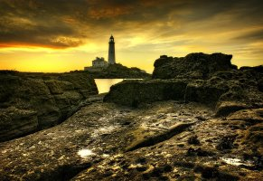 st marys lighthouse,маяк,башня,закат,north east england