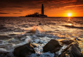 st marys lighthouse,закат,башня,маяк,north east england