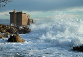 clouds,waves,sky,shore,sea,castle,rocks,water,nature