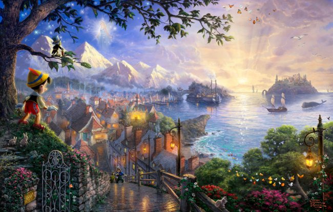 art,thomas kinkade,50-th anniversary,the disney dreams collection,pinocchio wishes upon a star