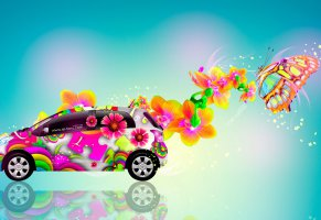 fantasy,car,hd wallpapers,butterfly,design,toyota,дизайн,тойота,art,abstract,абстракт,side,аэрография,вид сбоку,style,jdm,el tony cars,blue,tony kokhan,multicolors,vitz,aerography,фотошоп,тони кохан,витц,yellow,flowers,photoshop